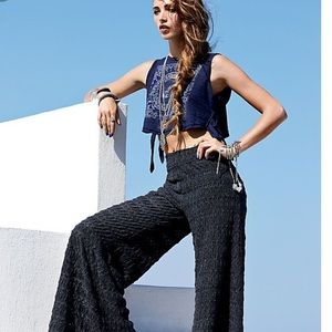 Free People Extreme Knit Textured Flare Pants 0 XS